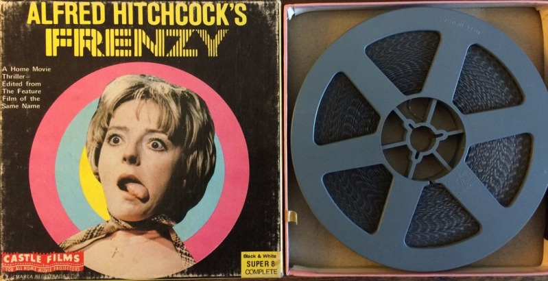 Box art and reel for Castle Films complete condensed (200ft) version of Hitchcock's Frenzy